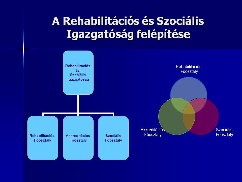 A Rehabilitációs és Szociális Igazgatóság felépítése Rehabilitációs és Szociális Igazgatóság Rehabilitációs Főosztály Akkreditációs Főosztály Szociális Főosztály Rehabilitációs Főosztály Szociális Főosztály Akkreditációs Főosztály
