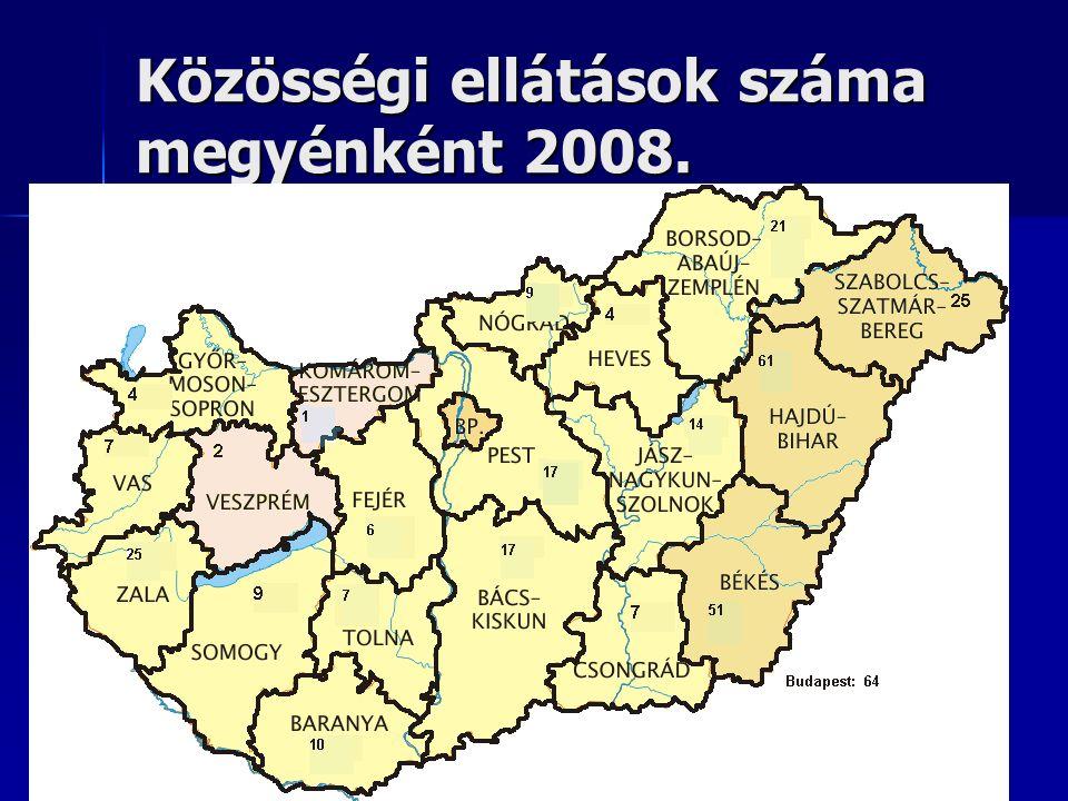 Közösségi ellátások száma megyénként 2008.
