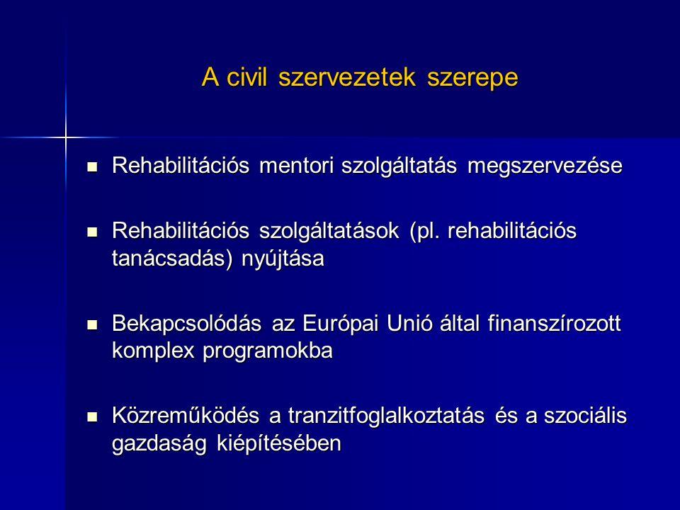 A civil szervezetek szerepe Rehabilitációs mentori szolgáltatás megszervezése Rehabilitációs mentori szolgáltatás megszervezése Rehabilitációs szolgáltatások (pl.