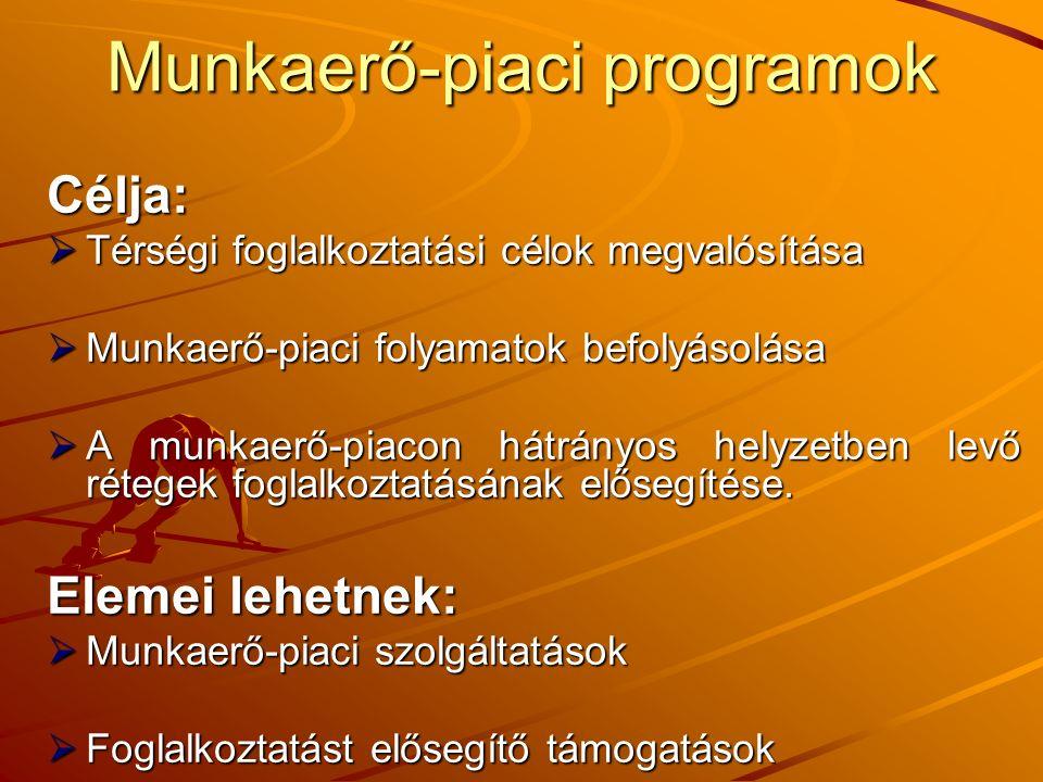 Munkaerő-piaci programok Célja:  Térségi foglalkoztatási célok megvalósítása  Munkaerő-piaci folyamatok befolyásolása  A munkaerő-piacon hátrányos helyzetben levő rétegek foglalkoztatásának elősegítése.