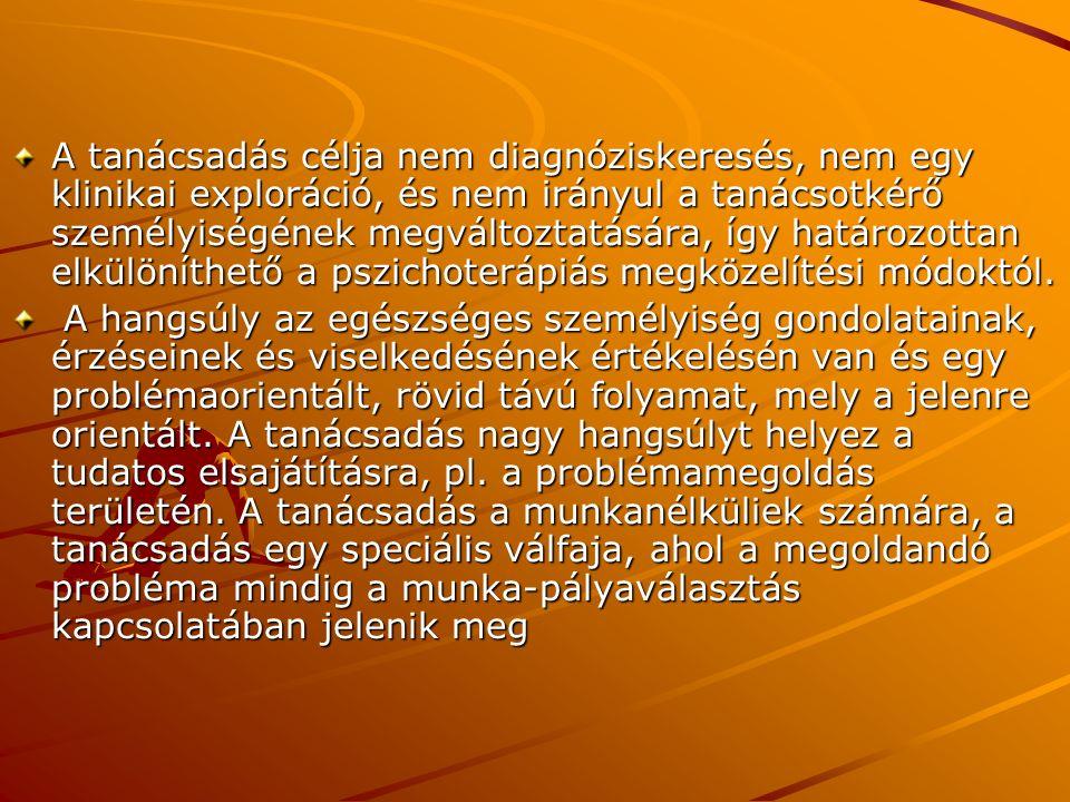 A tanácsadás célja nem diagnóziskeresés, nem egy klinikai exploráció, és nem irányul a tanácsotkérő személyiségének megváltoztatására, így határozottan elkülöníthető a pszichoterápiás megközelítési módoktól.