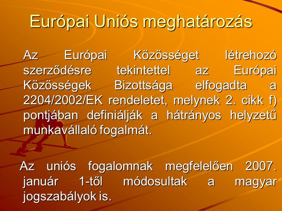 Európai Uniós meghatározás Az Európai Közösséget létrehozó szerződésre tekintettel az Európai Közösségek Bizottsága elfogadta a 2204/2002/EK rendeletet, melynek 2.