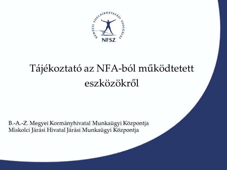Tájékoztató az NFA-ból működtetett eszközökről B.-A.-Z.