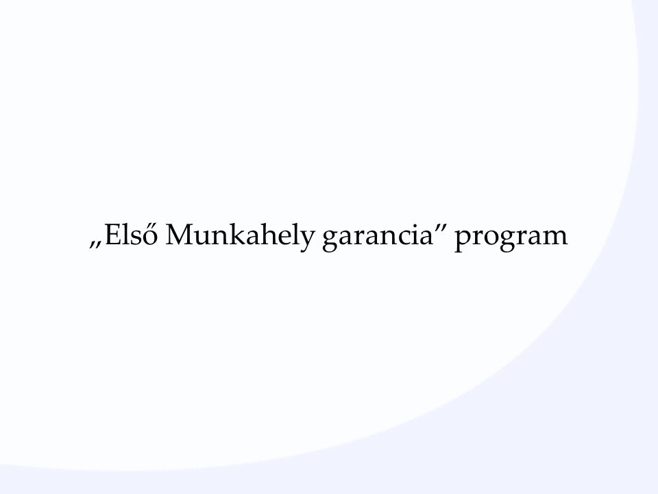 """""""Első Munkahely garancia program"""