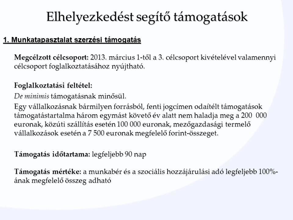 1. Munkatapasztalat szerzési támogatás Megcélzott célcsoport: 2013.