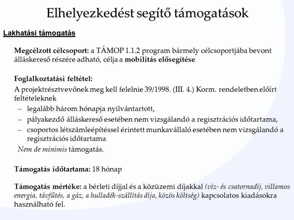 Lakhatási támogatás Megcélzott célcsoport: a TÁMOP 1.1.2 program bármely célcsoportjába bevont álláskereső részére adható, célja a mobilitás elősegítése Foglalkoztatási feltétel: A projektrésztvevőnek meg kell felelnie 39/1998.