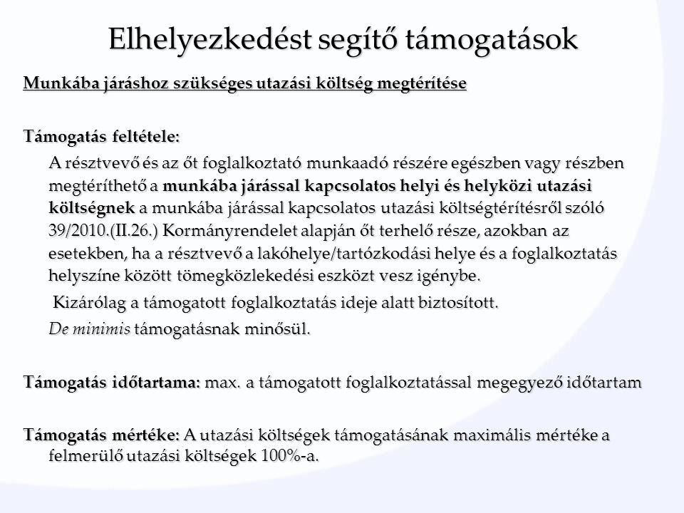 Munkába járáshoz szükséges utazási költség megtérítése Támogatás feltétele: A résztvevő és az őt foglalkoztató munkaadó részére egészben vagy részben megtéríthető a munkába járással kapcsolatos helyi és helyközi utazási költségnek a munkába járással kapcsolatos utazási költségtérítésről szóló 39/2010.(II.26.) Kormányrendelet alapján őt terhelő része, azokban az esetekben, ha a résztvevő a lakóhelye/tartózkodási helye és a foglalkoztatás helyszíne között tömegközlekedési eszközt vesz igénybe.