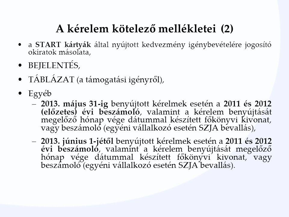 A kérelem kötelező mellékletei (2) a START kártyák által nyújtott kedvezmény igénybevételére jogosító okiratok másolata, BEJELENTÉS, TÁBLÁZAT (a támogatási igényről), Egyéb –2013.