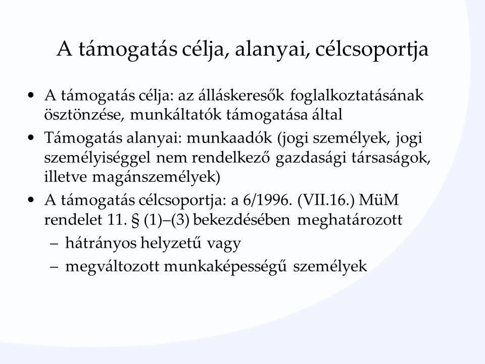 A támogatás célja, alanyai, célcsoportja A támogatás célja: az álláskeresők foglalkoztatásának ösztönzése, munkáltatók támogatása által Támogatás alanyai: munkaadók (jogi személyek, jogi személyiséggel nem rendelkező gazdasági társaságok, illetve magánszemélyek) A támogatás célcsoportja: a 6/1996.