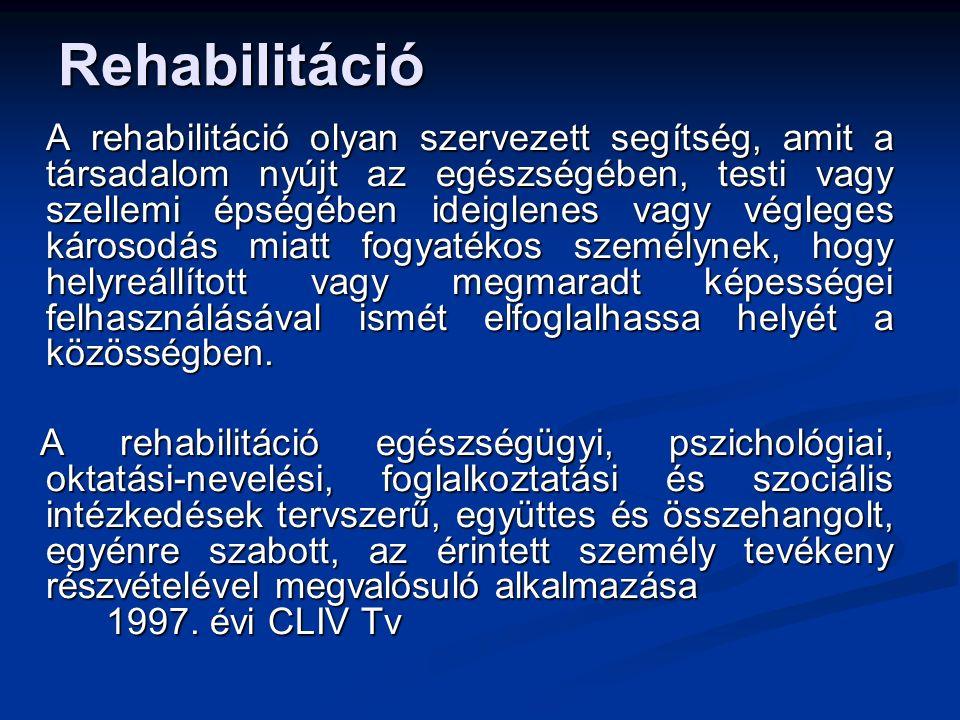 Rehabilitáció A rehabilitáció olyan szervezett segítség, amit a társadalom nyújt az egészségében, testi vagy szellemi épségében ideiglenes vagy végleg