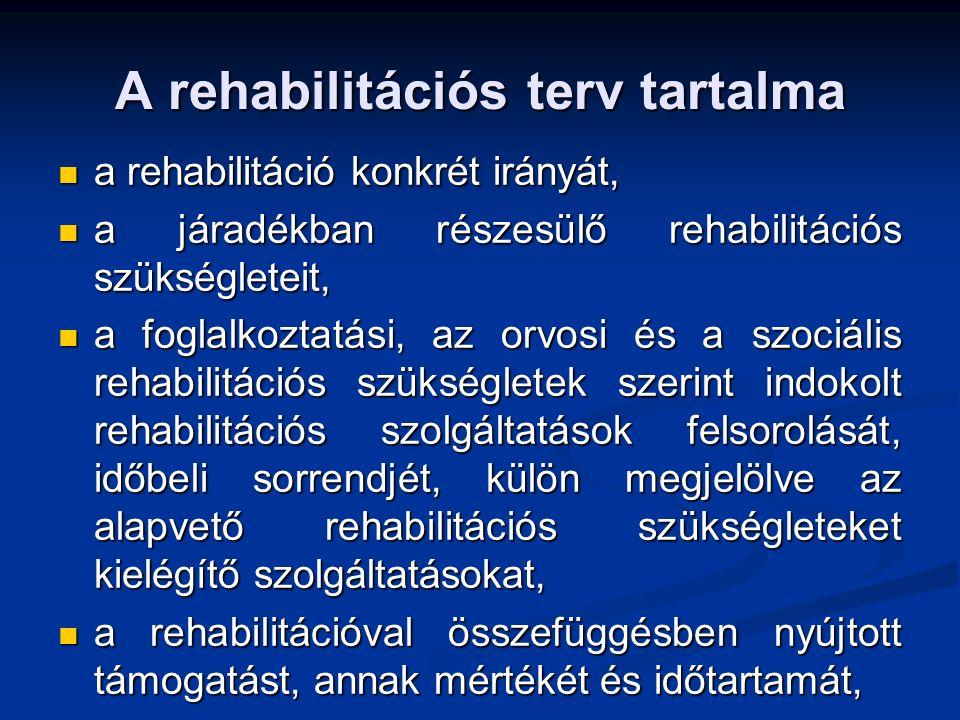A rehabilitációs terv tartalma a rehabilitáció konkrét irányát, a rehabilitáció konkrét irányát, a járadékban részesülő rehabilitációs szükségleteit, a járadékban részesülő rehabilitációs szükségleteit, a foglalkoztatási, az orvosi és a szociális rehabilitációs szükségletek szerint indokolt rehabilitációs szolgáltatások felsorolását, időbeli sorrendjét, külön megjelölve az alapvető rehabilitációs szükségleteket kielégítő szolgáltatásokat, a foglalkoztatási, az orvosi és a szociális rehabilitációs szükségletek szerint indokolt rehabilitációs szolgáltatások felsorolását, időbeli sorrendjét, külön megjelölve az alapvető rehabilitációs szükségleteket kielégítő szolgáltatásokat, a rehabilitációval összefüggésben nyújtott támogatást, annak mértékét és időtartamát, a rehabilitációval összefüggésben nyújtott támogatást, annak mértékét és időtartamát,