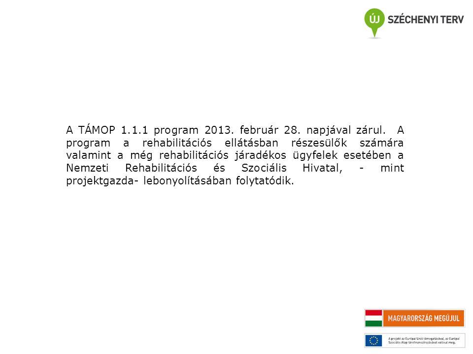 A TÁMOP 1.1.1 program 2013. február 28. napjával zárul. A program a rehabilitációs ellátásban részesülők számára valamint a még rehabilitációs járadék