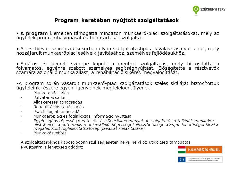 Program keretében nyújtott szolgáltatások A program kiemelten támogatta mindazon munkaerő-piaci szolgáltatásokat, mely az ügyfelek programba vonását é