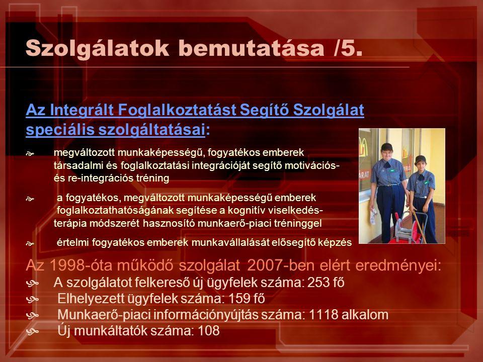 Szolgálatok bemutatása /5. Az Integrált Foglalkoztatást Segítő Szolgálat speciális szolgáltatásai:  megváltozott munkaképességű, fogyatékos emberek t