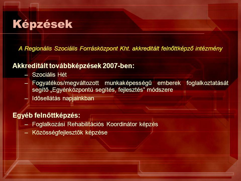Képzések A Regionális Szociális Forrásközpont Kht. akkreditált felnőttképző intézmény Akkreditált továbbképzések 2007-ben: –Szociális Hét –Fogyatékos/