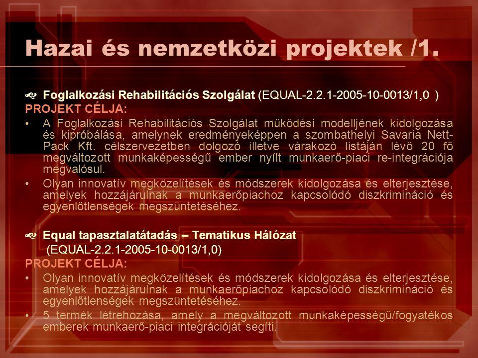 Hazai és nemzetközi projektek /1.  Foglalkozási Rehabilitációs Szolgálat (EQUAL-2.2.1-2005-10-0013/1,0 ) PROJEKT CÉLJA: A Foglalkozási Rehabilitációs