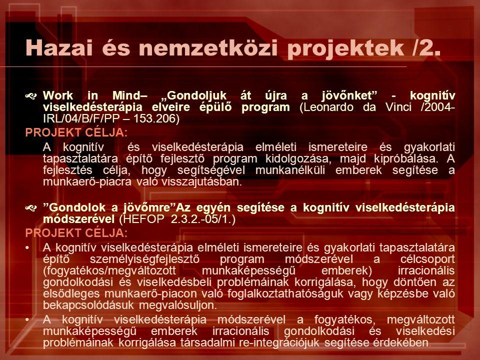 """Hazai és nemzetközi projektek /2.  Work in Mind– """"Gondoljuk át újra a jövőnket"""" - kognitív viselkedésterápia elveire épülő program (Leonardo da Vinci"""