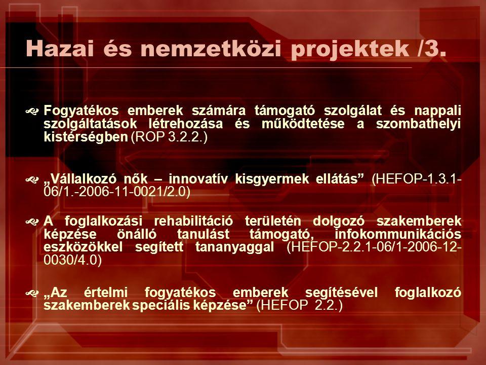 Hazai és nemzetközi projektek /3.