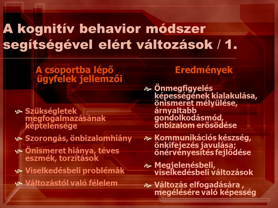 A kognitív behavior módszer segítségével elért változások / 1.