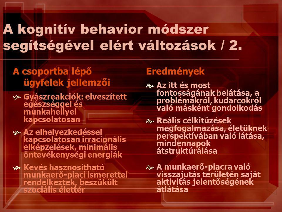 A kognitív behavior módszer segítségével elért változások / 2.