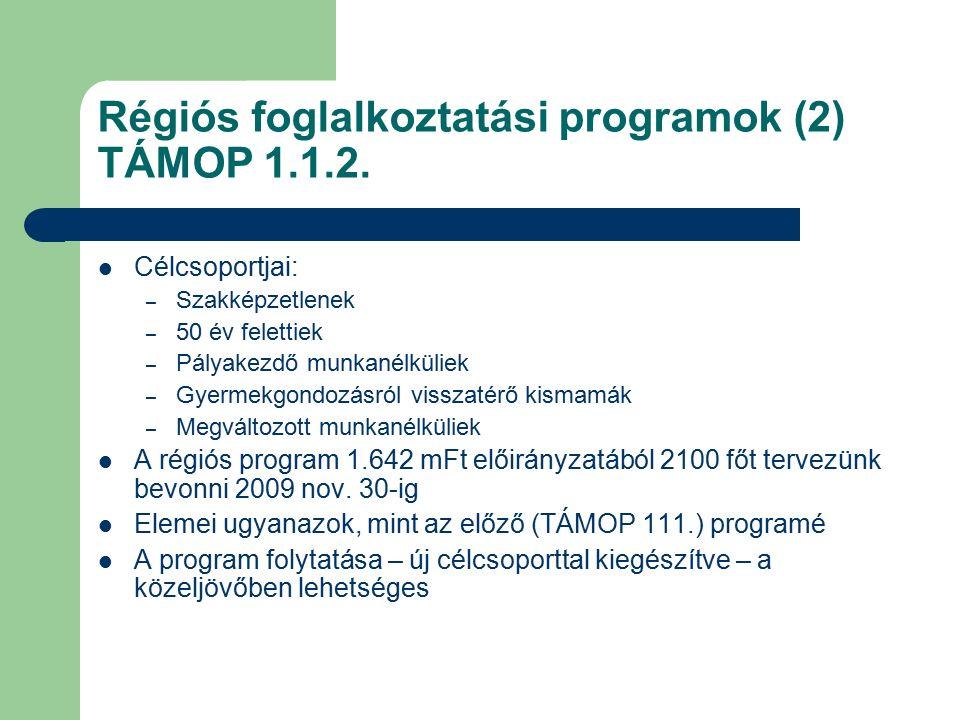 Régiós foglalkoztatási programok (2) TÁMOP 1.1.2. Célcsoportjai: – Szakképzetlenek – 50 év felettiek – Pályakezdő munkanélküliek – Gyermekgondozásról