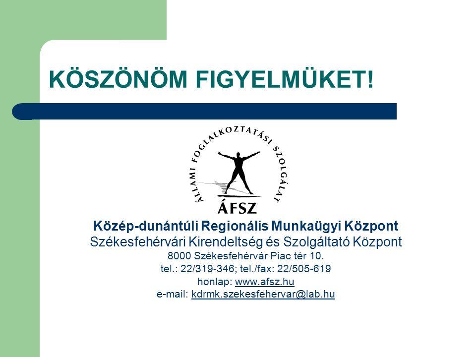 KÖSZÖNÖM FIGYELMÜKET! Közép-dunántúli Regionális Munkaügyi Központ Székesfehérvári Kirendeltség és Szolgáltató Központ 8000 Székesfehérvár Piac tér 10