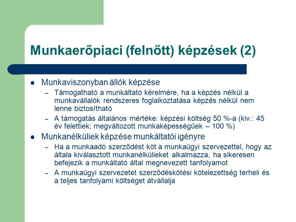 Munkaerőpiaci (felnőtt) képzések (2) Munkaviszonyban állók képzése – Támogatható a munkáltató kérelmére, ha a képzés nélkül a munkavállalók rendszeres