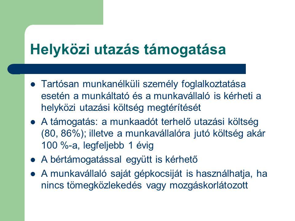 Helyközi utazás támogatása Tartósan munkanélküli személy foglalkoztatása esetén a munkáltató és a munkavállaló is kérheti a helyközi utazási költség m