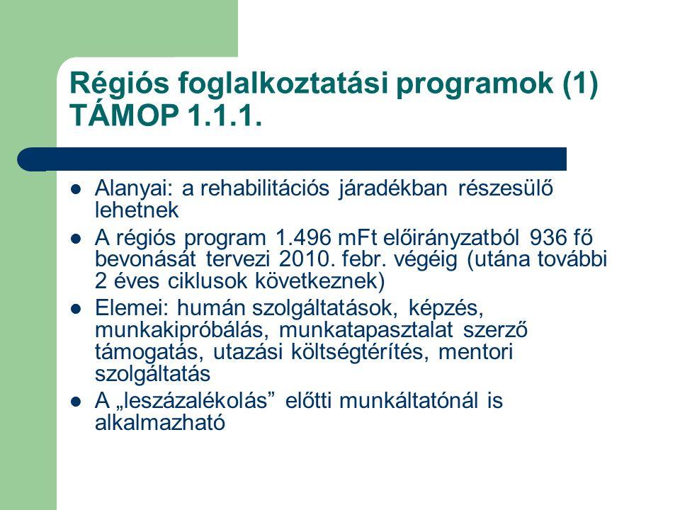 Régiós foglalkoztatási programok (1) TÁMOP 1.1.1. Alanyai: a rehabilitációs járadékban részesülő lehetnek A régiós program 1.496 mFt előirányzatból 93