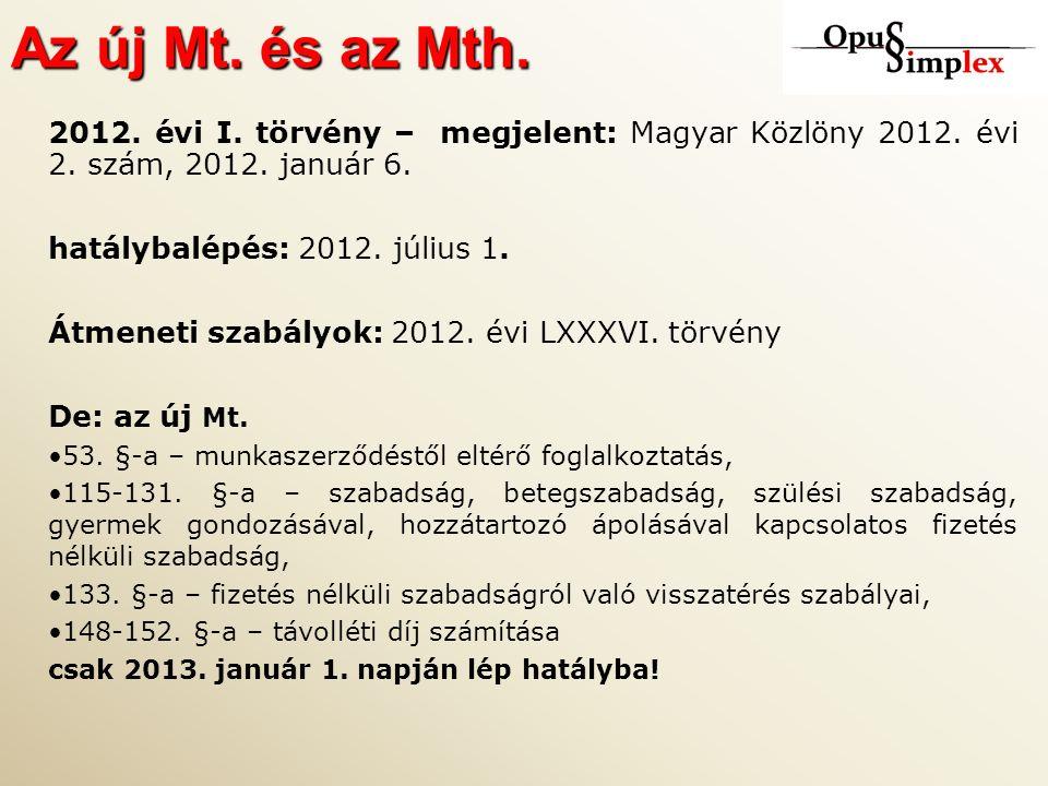 Az új Mt. és az Mth. 2012. évi I. törvény – megjelent: Magyar Közlöny 2012.
