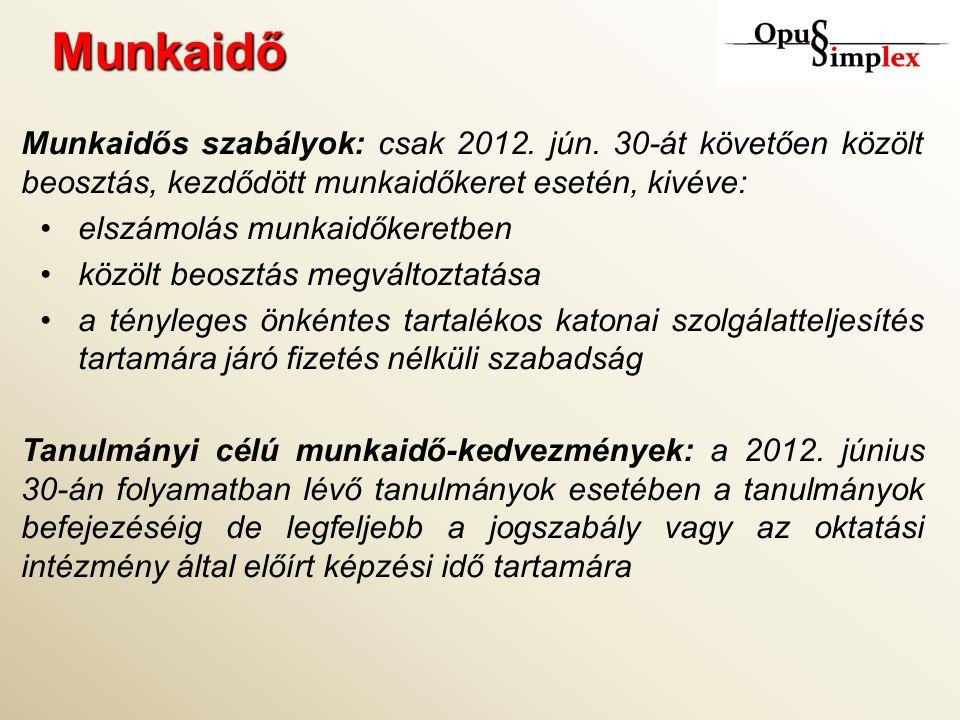 Munkaidő Munkaidős szabályok: csak 2012. jún.