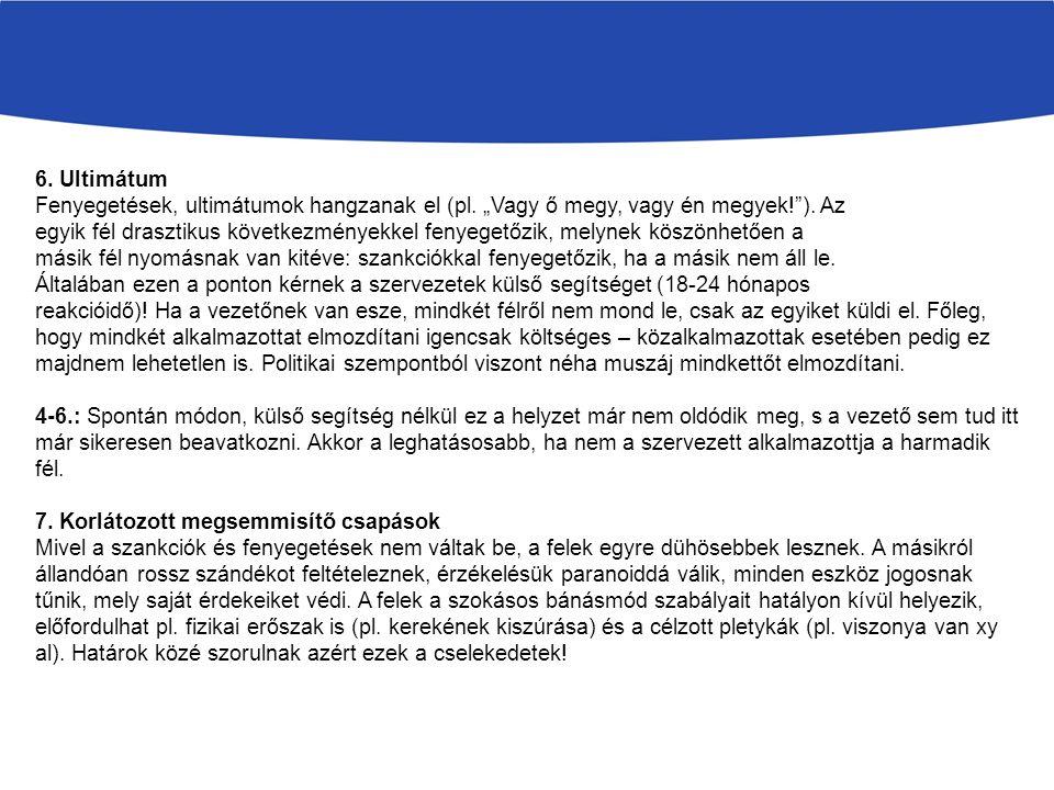 6. Ultimátum Fenyegetések, ultimátumok hangzanak el (pl.
