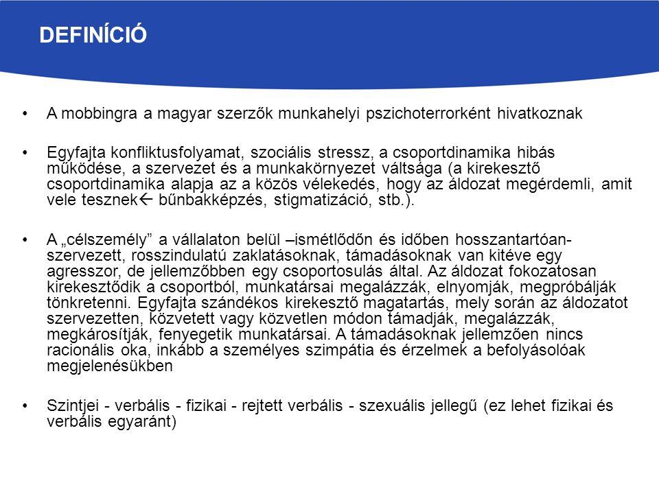 A mobbingra a magyar szerzők munkahelyi pszichoterrorként hivatkoznak Egyfajta konfliktusfolyamat, szociális stressz, a csoportdinamika hibás működése, a szervezet és a munkakörnyezet váltsága (a kirekesztő csoportdinamika alapja az a közös vélekedés, hogy az áldozat megérdemli, amit vele tesznek  bűnbakképzés, stigmatizáció, stb.).