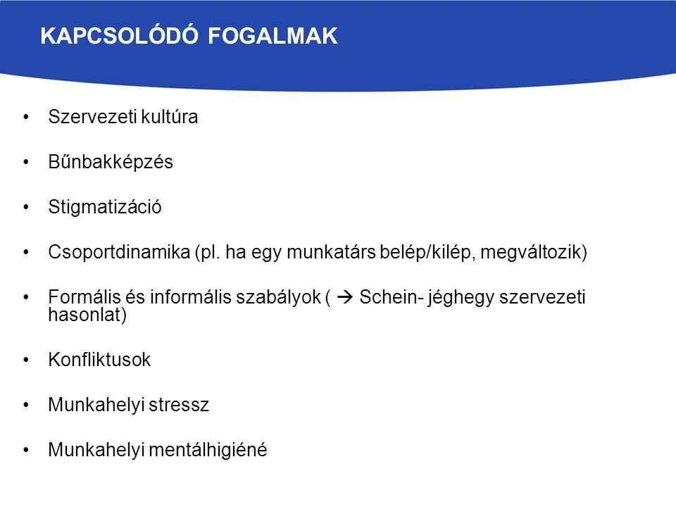 Szervezeti kultúra Bűnbakképzés Stigmatizáció Csoportdinamika (pl.