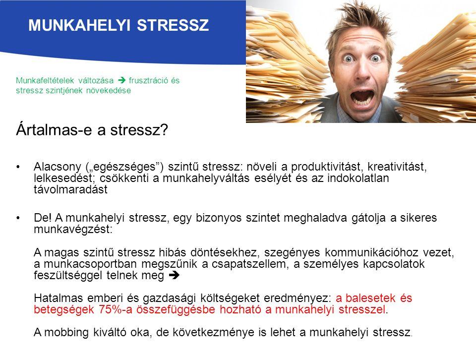 Munkafeltételek változása  frusztráció és stressz szintjének növekedése Ártalmas-e a stressz.