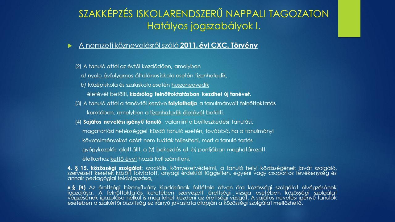 SZAKKÉPZÉS ISKOLARENDSZERŰ NAPPALI TAGOZATON Hatályos jogszabályok I.
