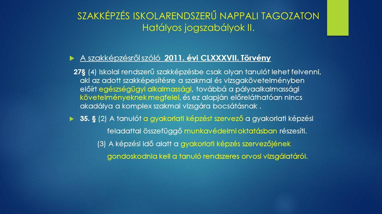 SZAKKÉPZÉS ISKOLARENDSZERŰ NAPPALI TAGOZATON Hatályos jogszabályok II.