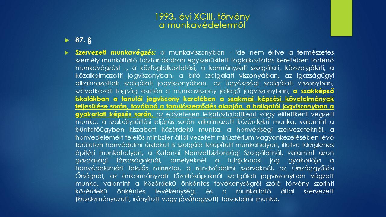 1993. évi XCIII. törvény a munkavédelemről  87.