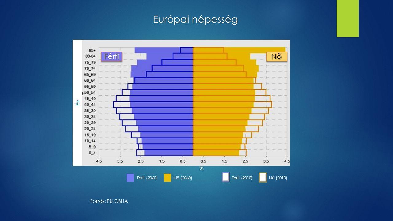 Forrás: EU OSHA Európai népesség FérfiFérfiNőNő Év % Férfi (2060)Nő (2060)Férfi (2010)Nő (2010)