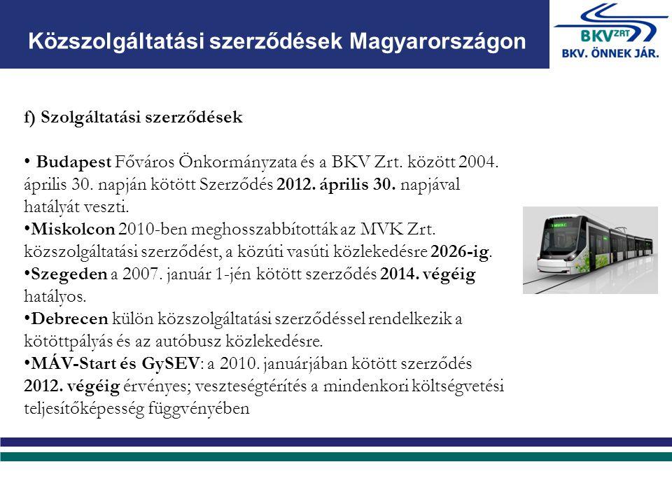 f) Szolgáltatási szerződések Budapest Főváros Önkormányzata és a BKV Zrt.
