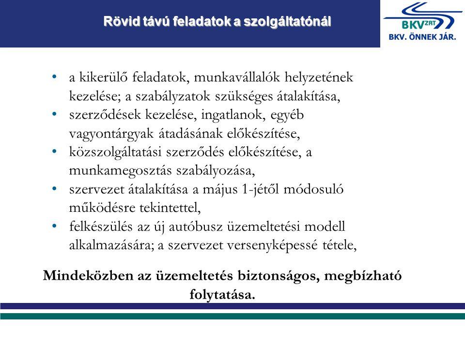 a kikerülő feladatok, munkavállalók helyzetének kezelése; a szabályzatok szükséges átalakítása, szerződések kezelése, ingatlanok, egyéb vagyontárgyak átadásának előkészítése, közszolgáltatási szerződés előkészítése, a munkamegosztás szabályozása, szervezet átalakítása a május 1-jétől módosuló működésre tekintettel, felkészülés az új autóbusz üzemeltetési modell alkalmazására; a szervezet versenyképessé tétele, Rövid távú feladatok a szolgáltatónál Mindeközben az üzemeltetés biztonságos, megbízható folytatása.