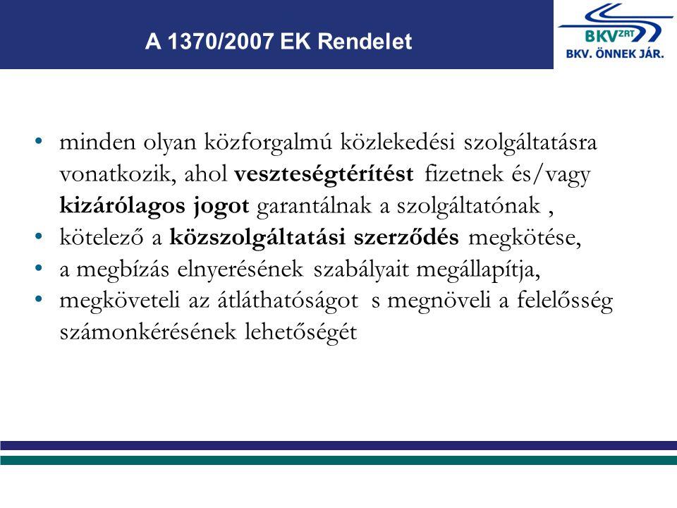 minden olyan közforgalmú közlekedési szolgáltatásra vonatkozik, ahol veszteségtérítést fizetnek és/vagy kizárólagos jogot garantálnak a szolgáltatónak, kötelező a közszolgáltatási szerződés megkötése, a megbízás elnyerésének szabályait megállapítja, megköveteli az átláthatóságot s megnöveli a felelősség számonkérésének lehetőségét A 1370/2007 EK Rendelet