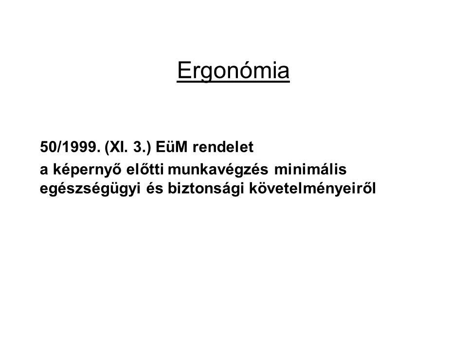 Ergonómia 50/1999. (XI. 3.) EüM rendelet a képernyő előtti munkavégzés minimális egészségügyi és biztonsági követelményeiről