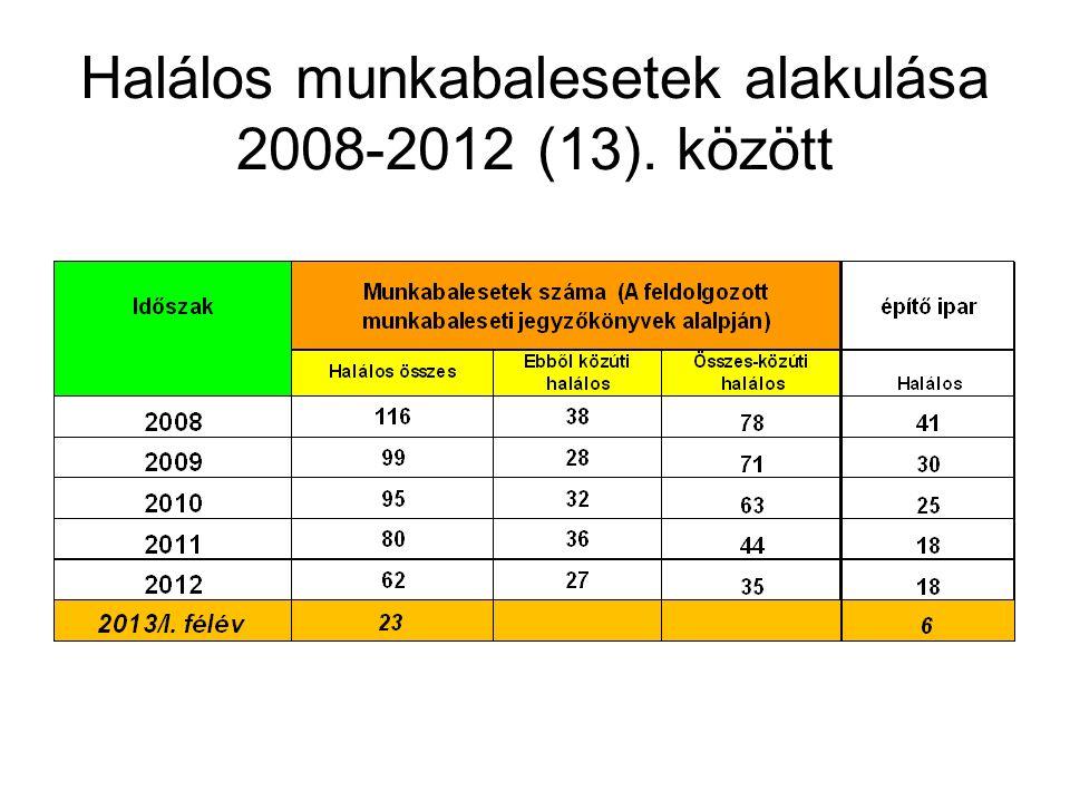 Halálos munkabalesetek alakulása 2008-2012 (13). között