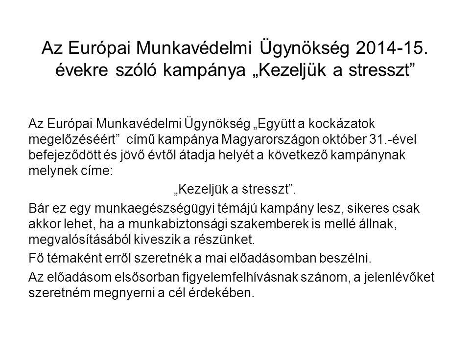 """Az Európai Munkavédelmi Ügynökség 2014-15. évekre szóló kampánya """"Kezeljük a stresszt"""" Az Európai Munkavédelmi Ügynökség """"Együtt a kockázatok megelőzé"""