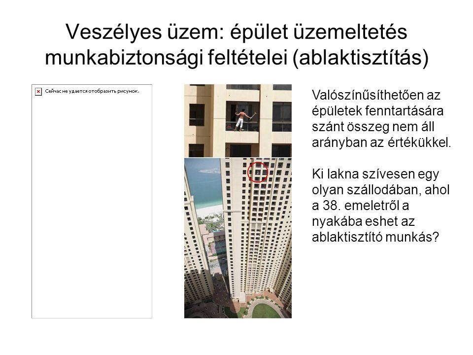 Veszélyes üzem: épület üzemeltetés munkabiztonsági feltételei (ablaktisztítás) Valószínűsíthetően az épületek fenntartására szánt összeg nem áll arány