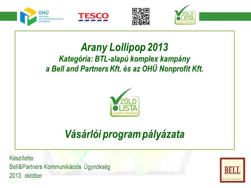 Arany Lollipop 2013 Kategória: BTL-alapú komplex kampány a Bell and Partners Kft.