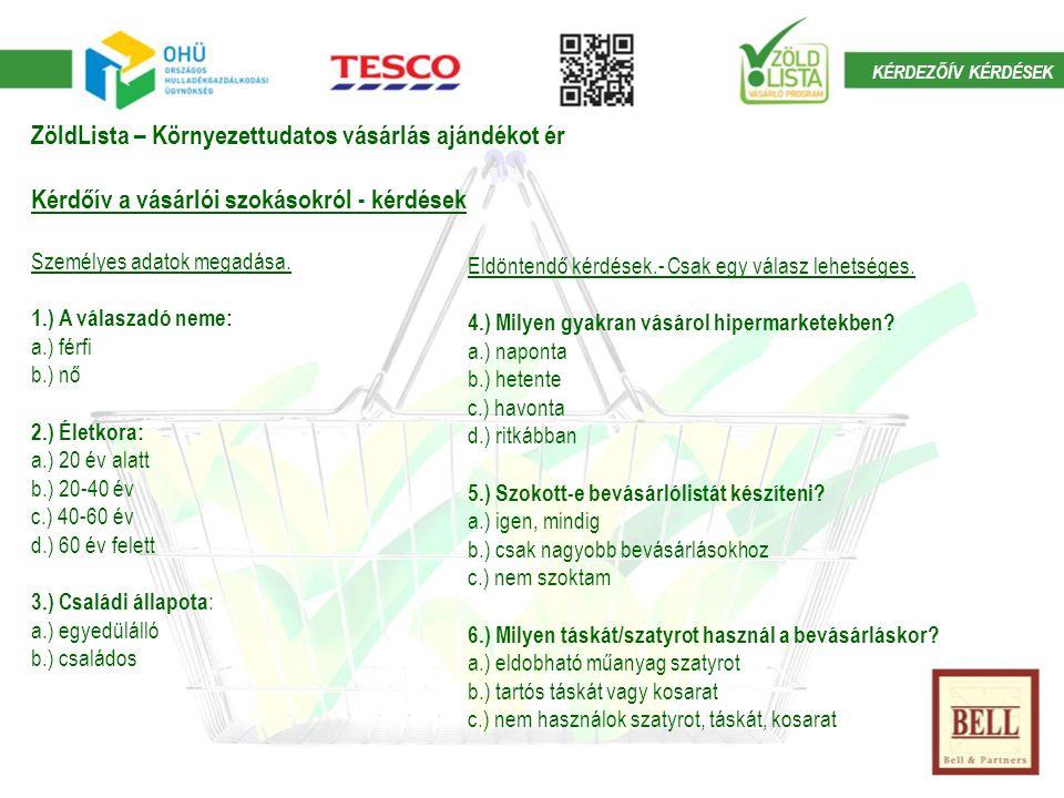 ZöldLista – Környezettudatos vásárlás ajándékot ér Kérdőív a vásárlói szokásokról - kérdések Személyes adatok megadása.