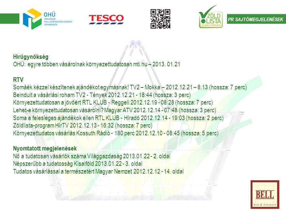 PR SAJTÓMEGJELENÉSEK Hírügynökség OHÜ: egyre többen vásárolnak környezettudatosan mti.hu – 2013.