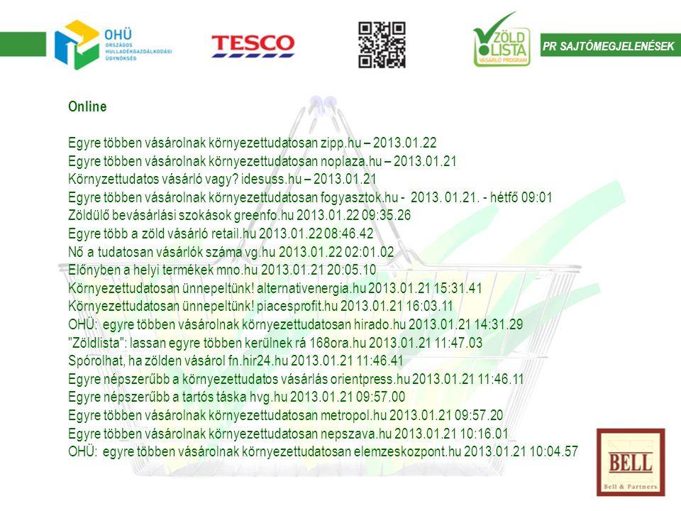 PR SAJTÓMEGJELENÉSEK Online Egyre többen vásárolnak környezettudatosan zipp.hu – 2013.01.22 Egyre többen vásárolnak környezettudatosan noplaza.hu – 2013.01.21 Környzettudatos vásárló vagy.